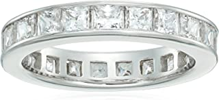 Platinum-Plated Sterling Silver Princess-Cut Swarovski Zirconia All-Around Band Ring