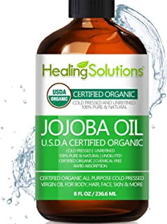 Jojoba Oil (Organic - 8oz) 100% Pure & Natural - Cold Pressed Unrefined - Hexane & Chemical Free - Perfect All-Natural Carrier Oil Solution for Face & Hair, Helps Fight Acne & Moisturize Skin Now