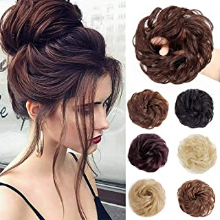 Stamped Glorious 100% Real Human Hair Bun Curly Messy Bun Hair Extensions Wedding Hair Pieces for Women Kids Hair Updo Donut Chignons Hair Pieces Up Scrunchie Scrunchy Extensions