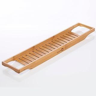 Bambu bad caddie bricka, 74 x 15 x 4,5 cm trä badkarsbricka, fuktbeständig bambu badställ för att hålla surfplatta, bok, v...