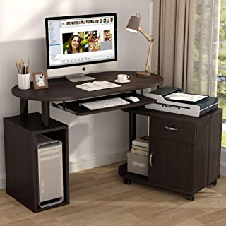 Tribesigns L-Shaped Computer Desk with File Cabinet, Rotating Corner Computer Desk Study Writing Table Workstation with CPU Stand, Drawer for Home Office Small Space Use. Dark Walnut