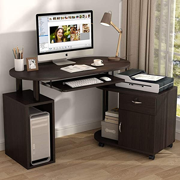 Tribesigns L Shaped Computer Desk With File Cabinet Rotating Corner Computer Desk Study Writing Table Workstation With CPU Stand Drawer For Home Office Small Space Use Dark Walnut