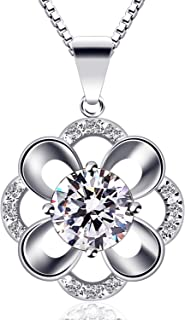B.Catcher Silver Necklace for Women Clover Pendant Necklace 925 Sterling Silver Cubic Zirconia with 45cm Chain