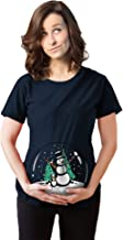 Maternity Snow Globe Snowmen T-Shirt Funny Cute Winter Pregnancy Tee for Women