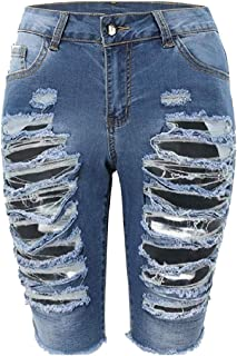 Coolred Women Denim Plus-size High-waisted Bodycon Distressed Jeans Short