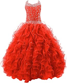 Girls' Crystal Body Straps Layered Ball Gown Ruffles Pageant Dresses