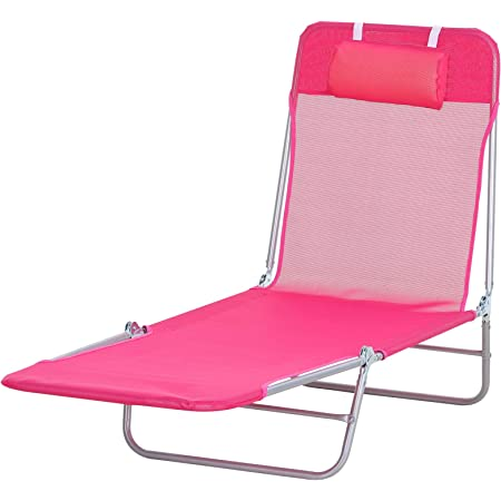 Outsunny Portable Adjustable-Level Chaise Sun Lounge Chair for The Beach, Patio, or Deck w/Folding Design & Sturdy Frame, Pink & Sliver