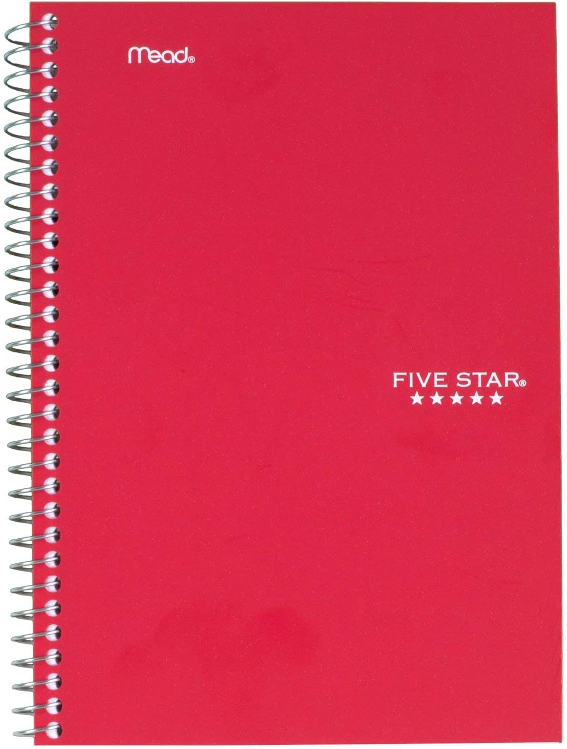 """Five Star Spiral Notebook, 2 Subject, College Ruled Paper, 100 sheets, 9-1/2"""" x 6"""", Red (72281)"""