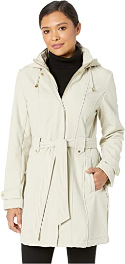 Stand Collar Belted Fleece Lined Raincoat