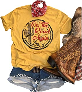 On The Road Again Retro Shirt Graphic Tees for Women Short Sleeve Cute Top