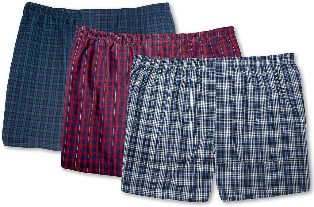 Hanes Big Men's Lightweight Woven Boxers Underwear 3-Pack Assorted Plaids