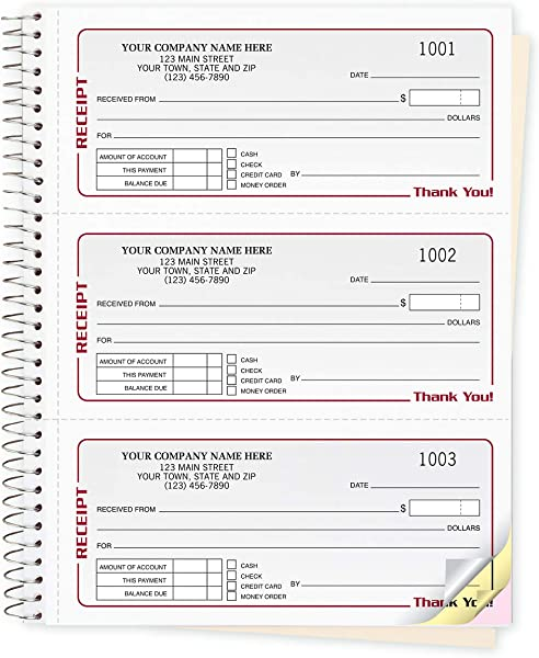 CheckSimple Gray Cash Receipt Books 3 To A Page W Duplicates Wire Bound Book 500 Receipts