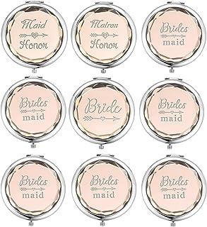 مجموعة من 9 مرايا ماكياج صغيرة الحجم تحتوي على مرآة للعروس ومرآة Maid of Honor و1 مرآة Matron of Honor و6 مرايا لإشبينة ال...