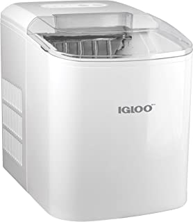 Igloo ICEB26WH Automatic Portable Electric Countertop Maker Machine, 26 Pounds in 24 Hours, 9 Cubes Ready in 7 Minutes, with Ice Scoop and Basket, Perfect for Water Bottles, Mixed Drinks, Parties, WHT