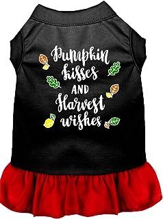 فستان للكلاب مطبوع عليه Pumpkin Kisses Screen Print Dog من ميراج بت برودكتس، مقاس XXL، أسود مع أحمر