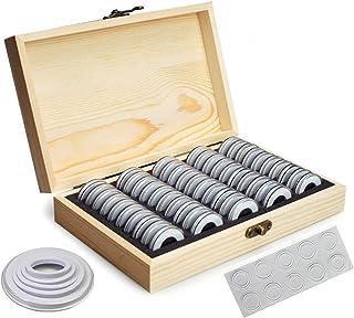 OUZHOU Myntförvaringsbox, 50 st myntförvaringslåda trä mynthållare fodral med runda mynt kapslar plast mynt organiserare s...