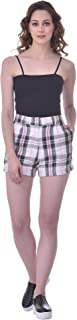 Martini Women Colourful Checkered Thigh Length Rayon Casual Shorts (White, 30)