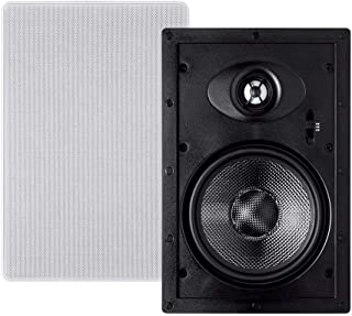 Monoprice 2-Way Carbon Fiber in-Wall Speakers - 6.5in (Pair) with Paintable Magnetic Grille - Alpha Series