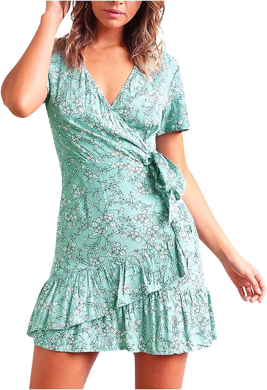 WUHOVILA Summer Dresses for Women 2021, Wrap V Neck Print Ruffle