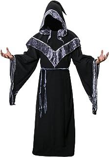 Adult Men's Dark Mystic Sorcerer Robe Halloween Cosplay Costume with Hooded Cape