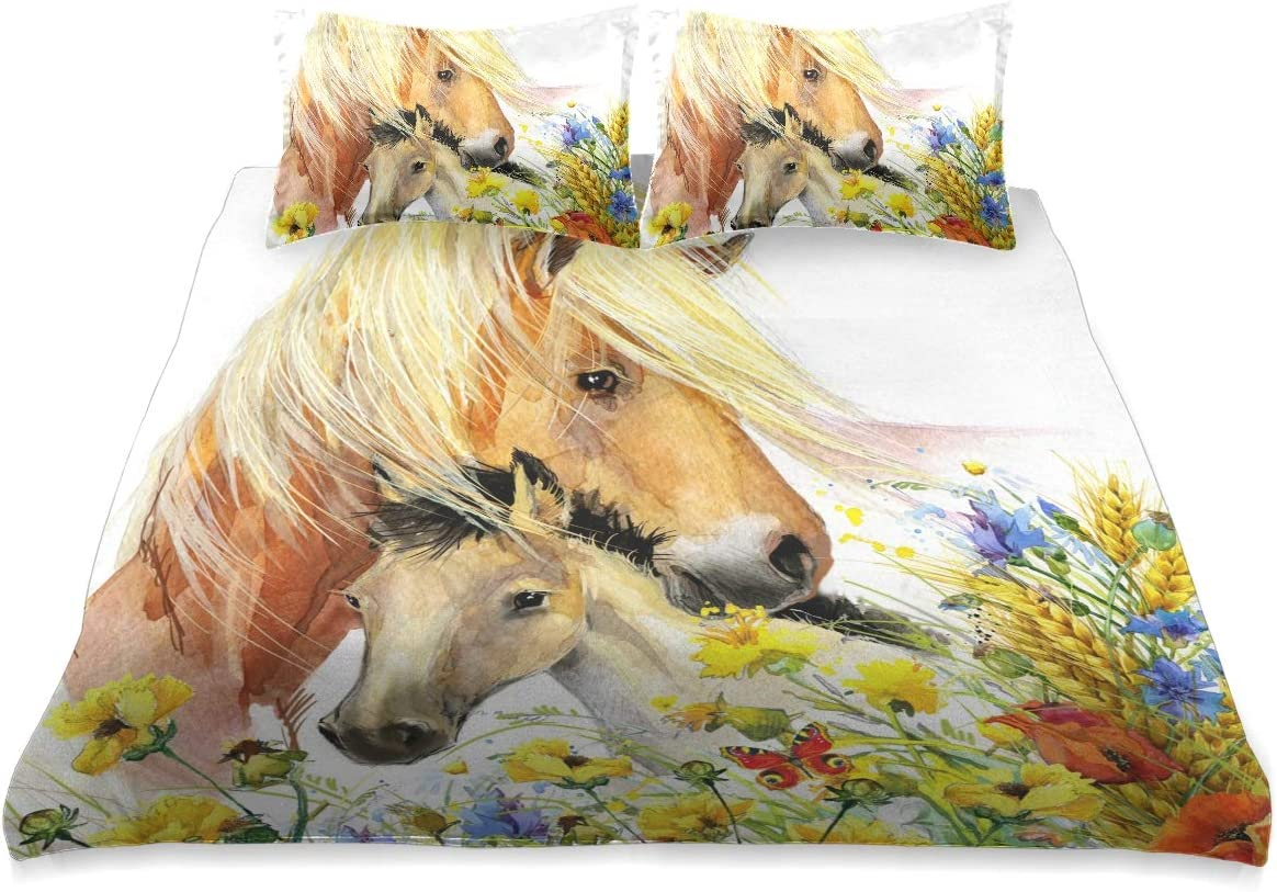 Watercolor マーケット Horse and Flower Comforter Cover Size Comfo 商品追加値下げ在庫復活 Queen Set