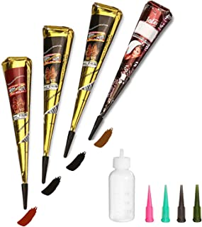Amhander Temporary Tattoo Set, 4Pcs Cones with Three Colors(2 Black, 1Brown, 1 Red), 20Pcs Adhesive Stencilfor Art Drawing...