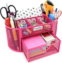 EasyPAG Mesh Desk Organizer Pencil Holder 9 Compartments with Drawer,Pink