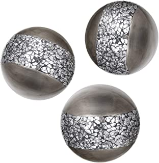 Creative Scents Schonwerk Silver Decorative Orbs for Bowls and Vases (Set of 3) Resin..
