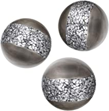 Schonwerk Silver Decorative Orbs for Bowls and Vases (Set of 3) Resin Sphere Balls | Dining/ Coffee Table Centerpiece | Gr...
