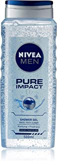 NIVEA MEN Pure Impact 3 in 1 Shower Gel & Body Wash for Body, Face & Hair 500ml