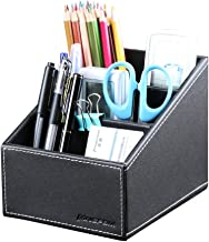 KINGFOM 3 Slot PU Leather Remote Control Holder Organizer, Home Sundries Storage Box, TV Guide/Mail/CD Organizer/Caddy/Holder with Free Cable Organizer (Black)