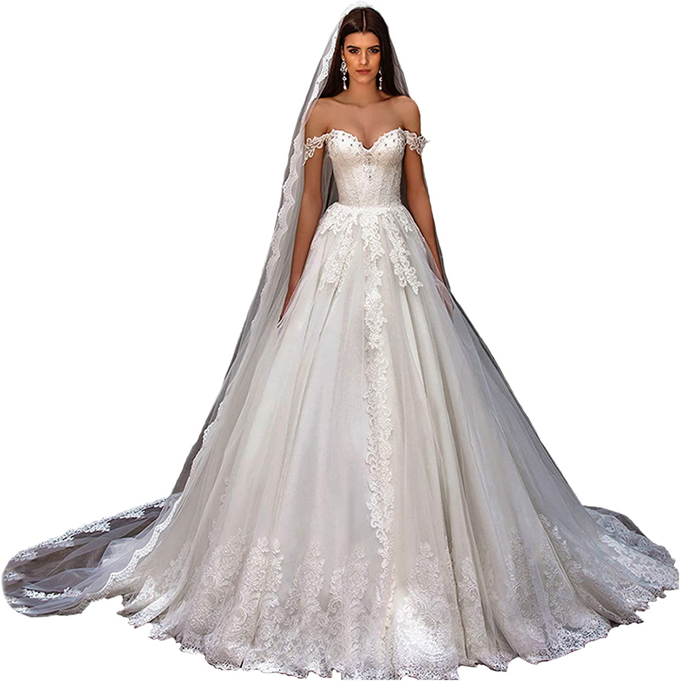 Fair Lady Princess Ball Gown Wedding Dresses for Bride 2020 Sexy Off Shoulder Lace Beaded Bridal Gowns