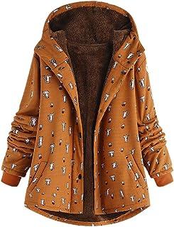 adb2b681ae63a Howley Top Women Winter Coat Warm Outwear Fashion Print Hooded Pockets  Vintage Oversize Overcoat