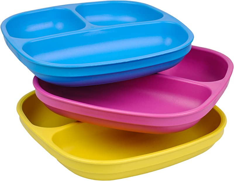 Re Play Made In USA 3pk Divided Plates With Deep Sides For Easy Baby Toddler Child Feeding Sky Blue Bright Pink Yellow Easter