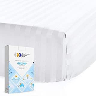 Vesgantti Twin XL Fitted Sheet 100/% Pure Cotton Bottom Sheet only Extra Deep Pocket/Breathable /& Cooling Hypoallergenic White