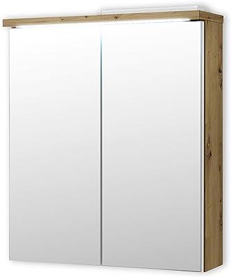 Stella Trading Pool Miroir Salle de Bain avec lumière LED en Look chêne Artisan, Blanc-Armoire de Toilette Moderne avec Beaucoup d'espace de Rangement, Engineered Wood, 60 x 68 x 20 cm