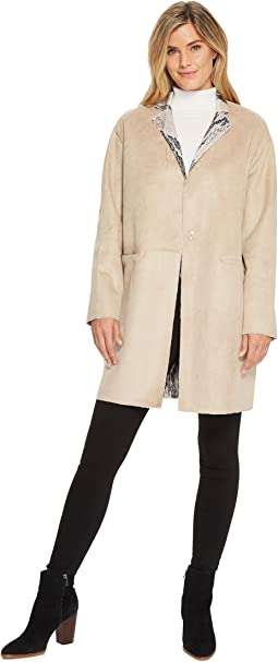 Ellen Tracy - Inverted Reverse Printed Fur Coat