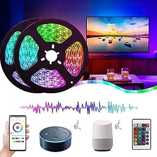 comprar comparacion Luces LED Wifi Alexa 10M (2×5M), Tira Regulable 300 LEDs, 16 Millones RGB 5050, Impermeable, Perfecto para Navidad, Fiesta...