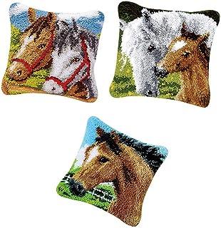 Prettyia 3pcs DIY Rug Making Latch Hooking Kits Pillow Cover Sofa Cushion Gift Horse Pattern