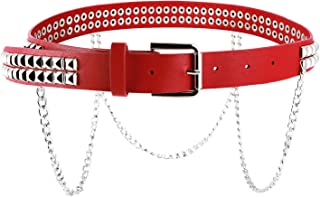 Women Faux Leather Square Metal Spike Studded Fashion Belt Waist with Punk Metal Chain