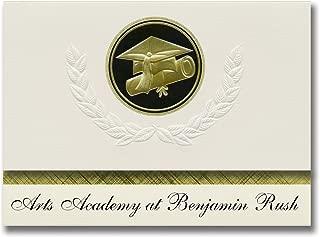 Signature Announcements Arts Academy at Benjamin Rush (Philadelphia, PA) Graduation Announcements, Presidential Elite Pack 25 Cap & Diploma Seal Black & Gold
