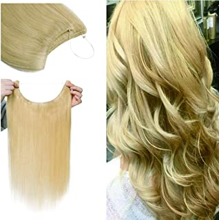 SEGO Invisible Secret Wire Hair Extensions Human Hair Translucent Fish Line Hidden String Crown Hair Extensions with Miracle Headband Hairpieces #613 Bleach Blonde 16 inches 60g
