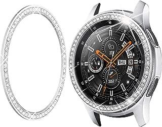 Goton Jewelry Bezel Ring Compatible Samsung Galaxy Watch 46mm Bezel, Gear S3 Frontier Classic, Crystal Bling Diamond Women Men Watch Bezel Cover Protector (46mm,Silver)