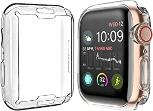 [2-Pack] Julk Case for Apple Watch Series 6 / SE/Series 5 / Series 4 Screen Protector 44mm, Overall Protective Case TPU HD Clear Ultra-Thin Cover (2 Transparent)