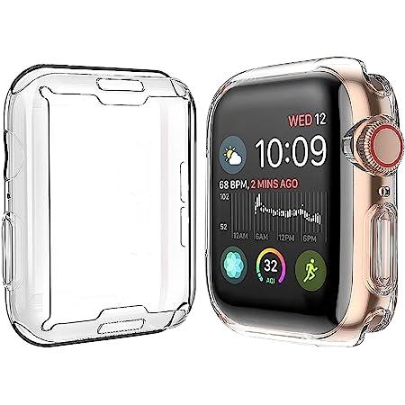 Misxi 【2枚セット】 対応Apple Watch Series 6 SE/Series 5 / Series 4 44mm ケース, 対応アップルウォッチシリーズ 6/SE/5/4 44mm TPUカバー (2クリア)