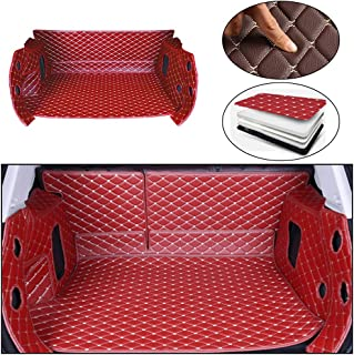 Maite Custom Car Trunk Mats for Jaguar F-PACE 2016-2018 Full-surrounded Leather Car Boot Mats Waterproof Cargo Liner Protector Cover Red