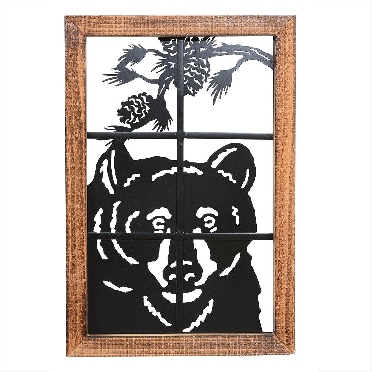 BLACK FOREST DECOR Bear in Window Metal/Wood Wall Art