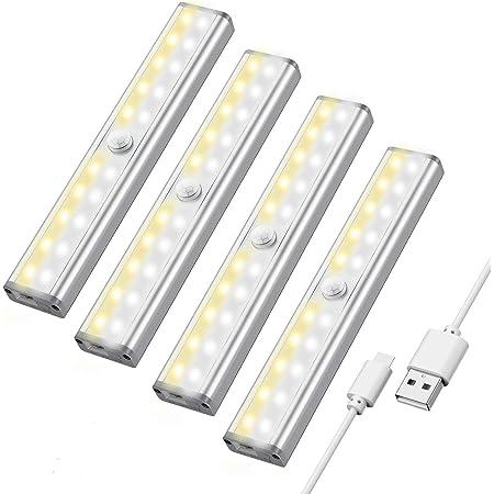 Maxuni LED Schrankbeleuchtung mit Bewegungsmelder, 3 Helligkeitstufen Sensor Licht, Wideraufladbare und Dimmbare Schrankleuchte mit 4 Magnetstreifen, 4er Pack MEHRWEG