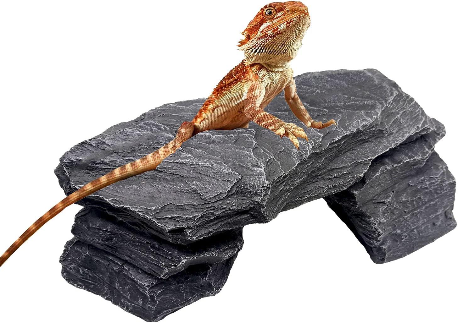 EKUEY Aquarium Decorations New arrival Rock Reptile Platform Habitat Dallas Mall f Slate