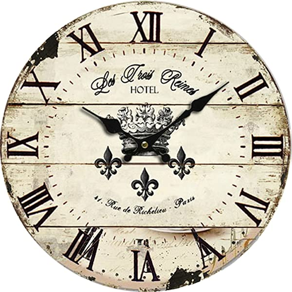Grazing 10 Vintage Roman Numeral Design Rustic Country Tuscan Style Wooden Decorative Round Wall Clock Vintage